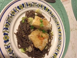 Cripsy cod w/ soba noodles