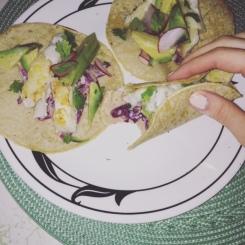 Crispy cod tacos w/ red cabbage slaw
